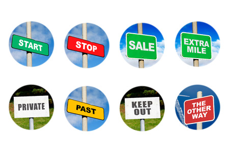 Collection of 8 signs in circles on white Stock Photo