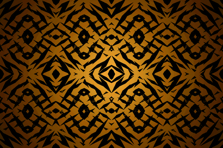 Yellow and black tribal shapes pattern with a centre spotlight
