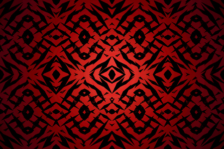 Red and black tribal shapes pattern with a centre spotlight