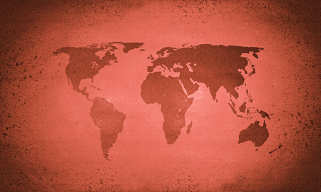 Old red vintage world map