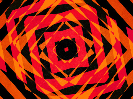 Colourful black, orange and red striped diamond shapes background pattern