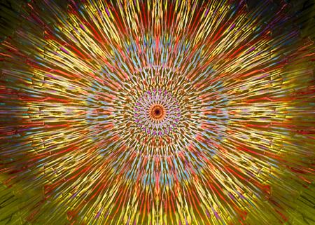 Colourful yellow, green and orange kaleidoscope circle pattern Banco de Imagens
