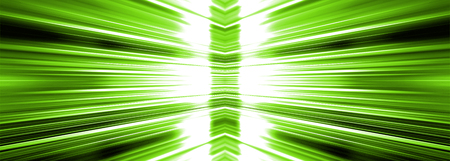 Radiating white light burst banner panoramic on a green background