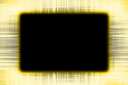 Yellow and black lines border frame background with a black copy space centre