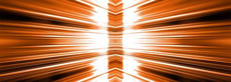 Radiating white light burst banner panoramic on a orange background Banco de Imagens