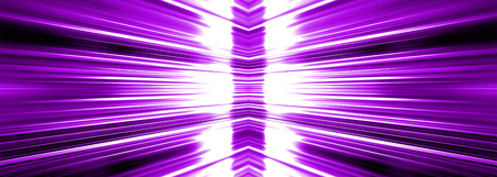 Radiating white light burst banner panoramic on a purple background