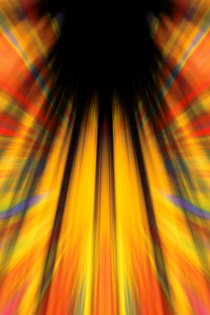 Colourful yellow and red light beams background with black copy space