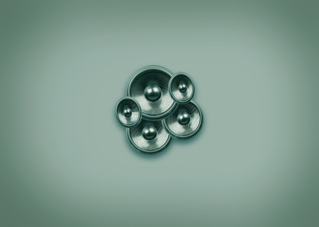 Audio speakers on a faded green background with copy space Stock Photo