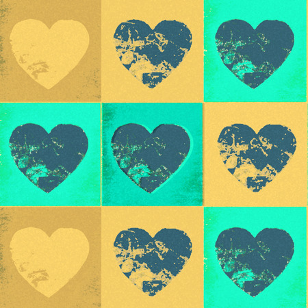 Faded yellow and green vintage hearts in a tiled pattern