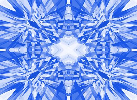 Blue shattered kaleidoscope pattern on white