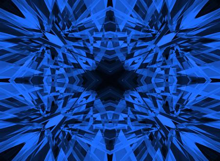 Dark blue shattered kaleidoscope pattern on black Stok Fotoğraf