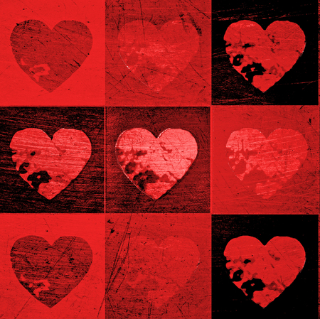 Red grunge valentine hearts in a tiled pattern