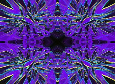 Purple and yellow shattered kaleidoscope pattern on black