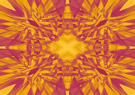Red and yellow shattered kaleidoscope pattern background