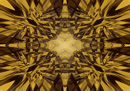 Yellow mystical kaleidoscope star background with texture and highlights