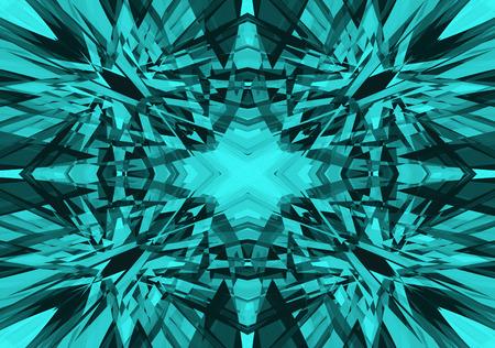 Hellblaues zerbrochenes Kaleidoskopmuster auf schwarzem Hintergrund Standard-Bild