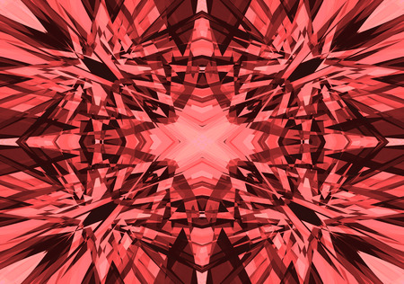 Red and pink shattered kaleidoscope pattern on a black background