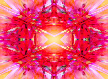 Colourful red, pink and yellow kaleidoscope pattern