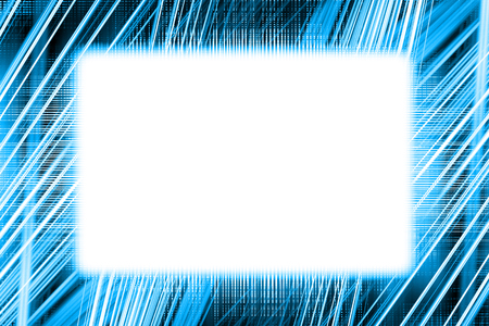 Blue and white light trails border frame with white copy space 写真素材 - 110746588