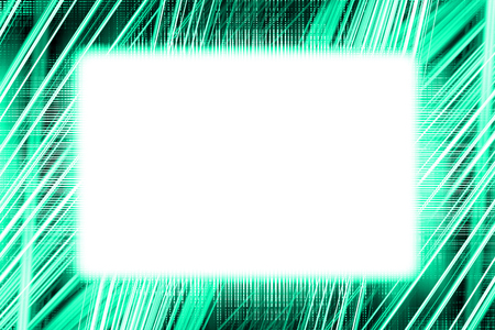 Green and white light trails border frame with white copy space