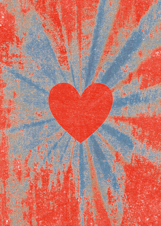 Red valentine heart on faded blue and red starburst background Stock Photo
