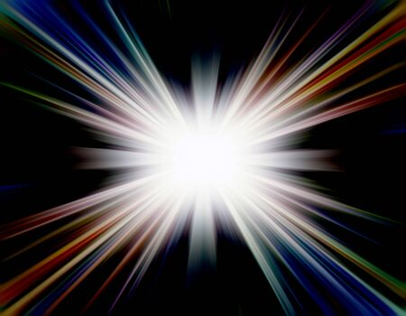 Bright shining light beams against a black background