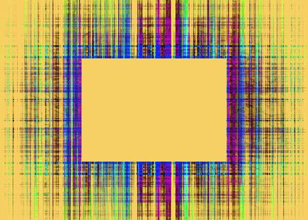 Wide multicoloured rough lines frame with yellow copy space