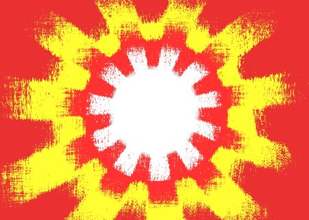 Colourful red and yellow rough cog shapes background with a white centre