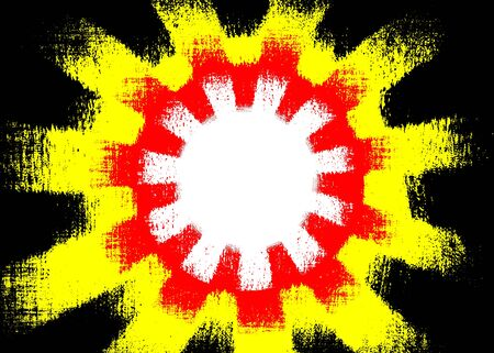 Colourful red, yellow and black rough cog shapes background with a white centre