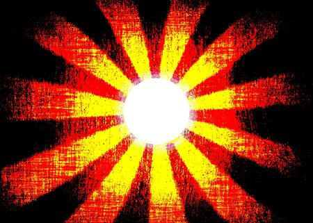 Red and yellow sunburst and white centre with copy space