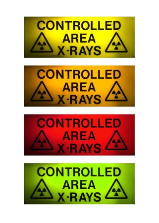 X-Rays sign in 4 different colours isolated on white