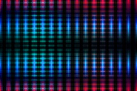 Blue and red blurred glowing lights grid on black background