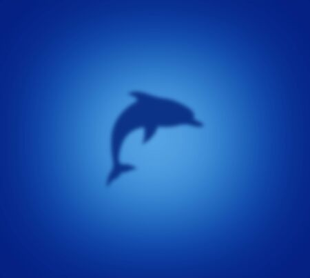 Blurred dolphin silhouette against a blue water background with a light blue glow Standard-Bild
