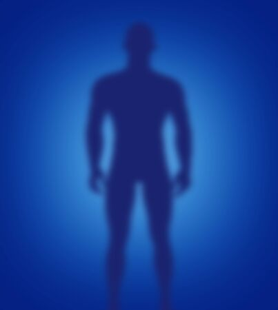 Scary figure silhouette against a dark blue background with a light blue glow