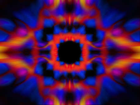 Colourful red and blue kaleidoscope pattern on a black background