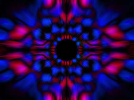 Blue and pink blurred kaleidoscope pattern on a black background