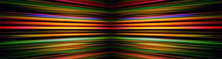 Colourful converging light beams on a black background banner Standard-Bild
