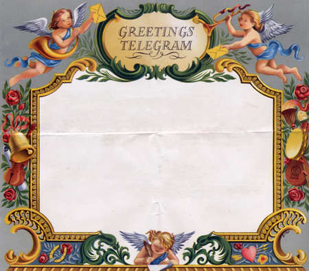 Colourful vintage wedding telegram frame with blank white copy space Standard-Bild