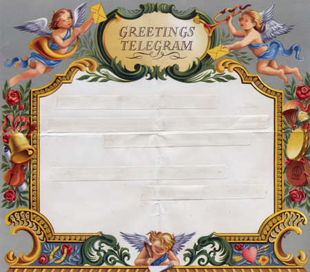 Colourful vintage wedding telegram frame with blank ticker tape copy space