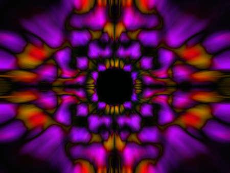 Purple and orange blurred kaleidoscope pattern on a black background