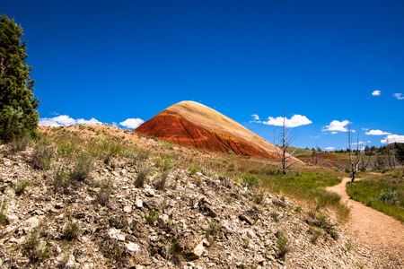 One of the Oregon Painted Hills. Bold red sandy soil makes a single hill, topped with a light tan colored soil.
