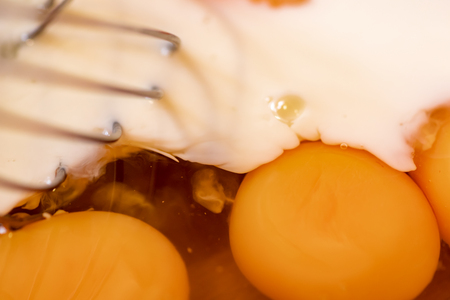 Egg yolks and milk with wisk.