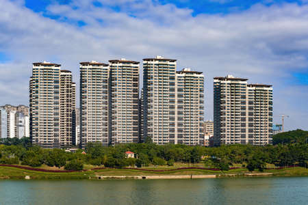 High-end residential buildings on the riverside of Chinese cities