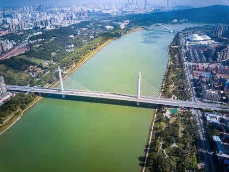 Cityscape of Wuxiang Bridge in Nanning, Guangxi, China