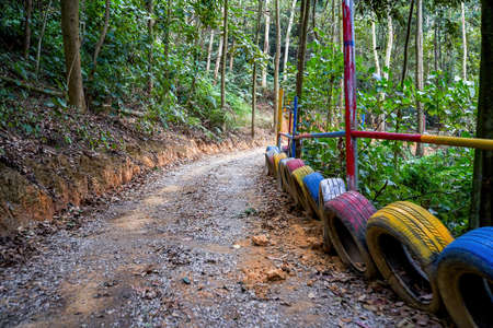 Off-road karting track, mountain and dirt road forest track