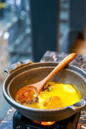 A delicious Japanese dish, steamed eggs with peach gum