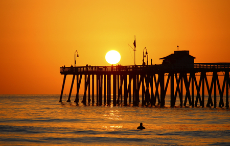 San Clemente Sunset with Pier Stock Photo