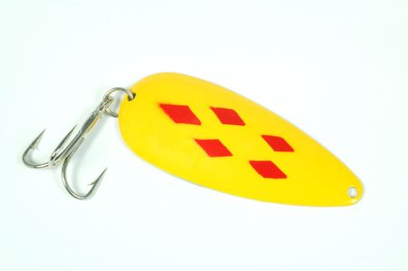 A fishing lure on a white background