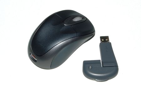 A wireless computer mouse on a white background