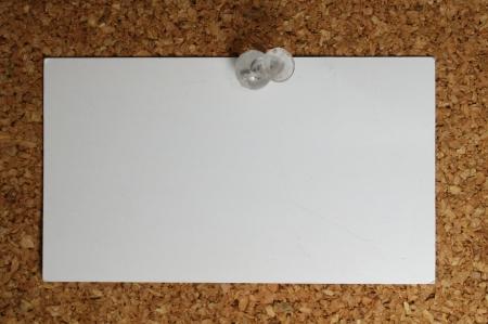 pin board: blank card on a display board